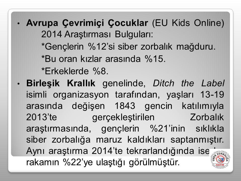 Avrupa Çevrimiçi Çocuklar (EU Kids Online) 2014 Araştırması Bulguları: *Gençlerin %12'si siber zorbalık mağduru.