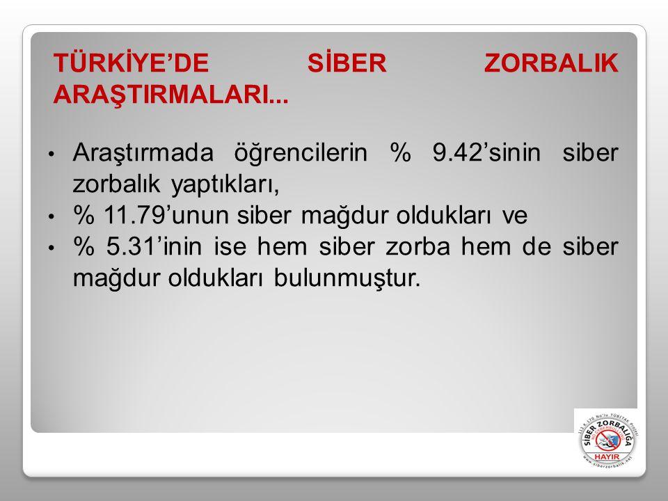TÜRKİYE'DE SİBER ZORBALIK ARAŞTIRMALARI...