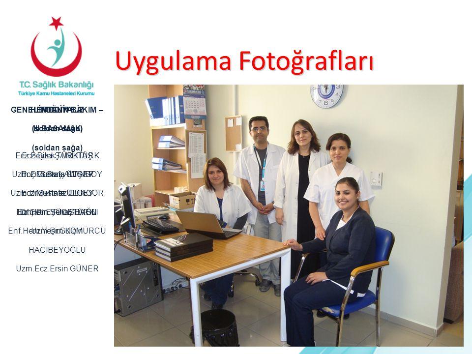 Uygulama Fotoğrafları HEMODİYALİZ (soldan sağa) Ecz.Beyza ŞANLITÜRK Doç.Dr.Barış AVŞAR Ecz.Mustafa ÜLGEY Dr.Çetin YÜCETÜRK GENEL YOĞUN BAKIM – III.BAS