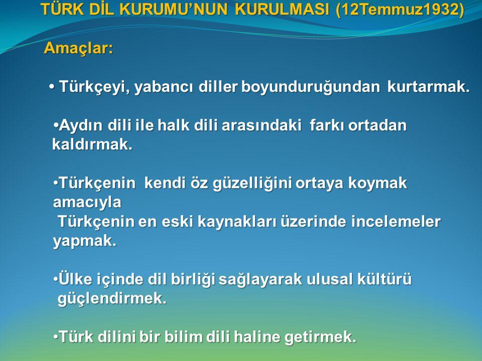 TÜRK DİL KURUMU'NUN KURULMASI (12Temmuz1932) TÜRK DİL KURUMU'NUN KURULMASI (12Temmuz1932) Amaçlar: Amaçlar: Türkçeyi, yabancı diller boyunduruğundan kurtarmak.