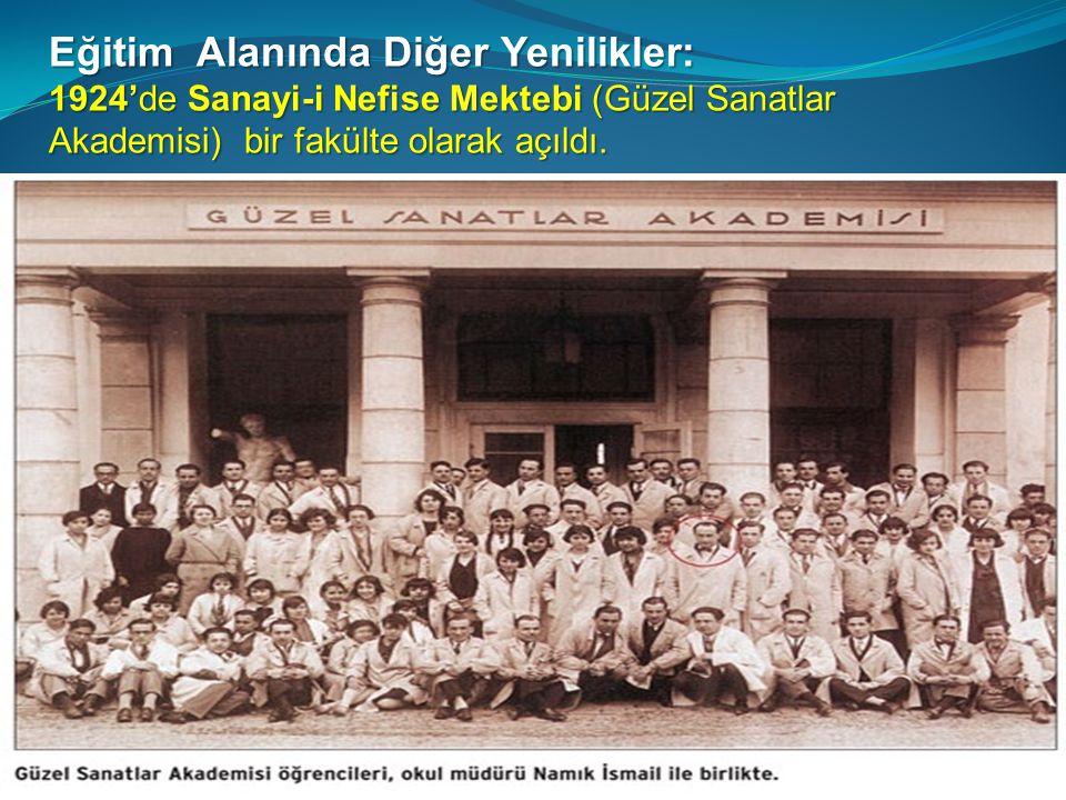 Eğitim Alanında Diğer Yenilikler: 1924'de Sanayi-i Nefise Mektebi (Güzel Sanatlar Akademisi) bir fakülte olarak açıldı.