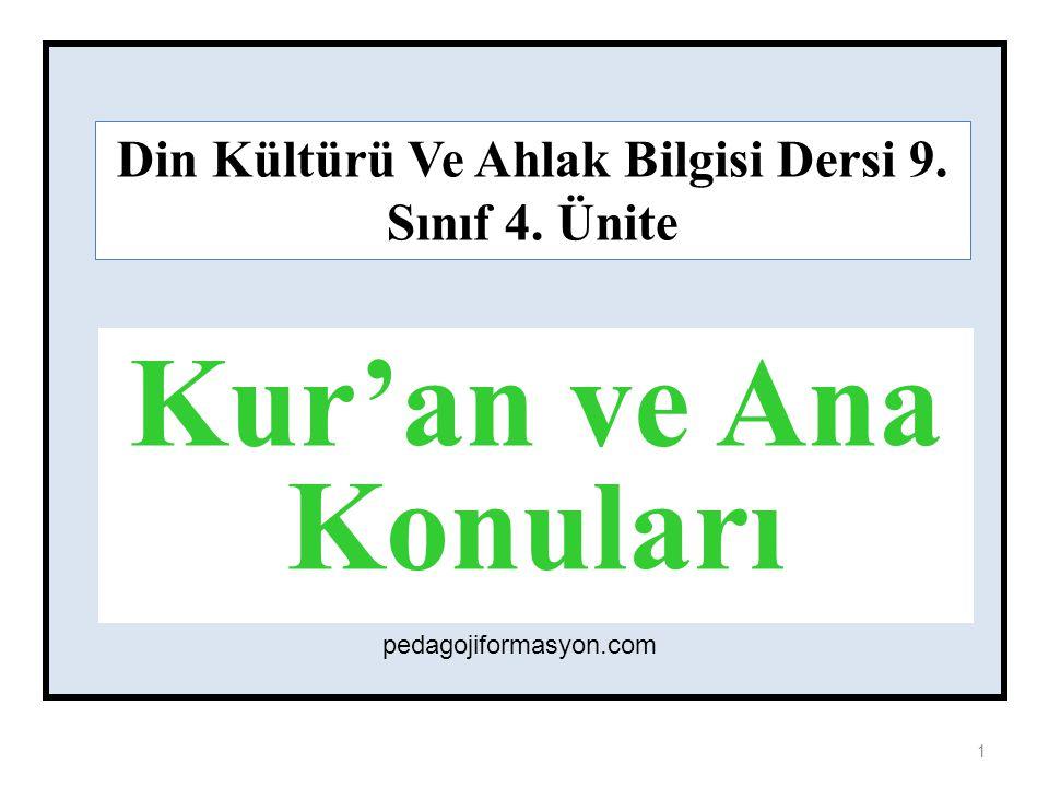 9.4.Ünite: Kur'an ve Ana Konuları / Konular 1. İslam Dininin Temel Kaynağı: Kur'an-ı Kerim 2.