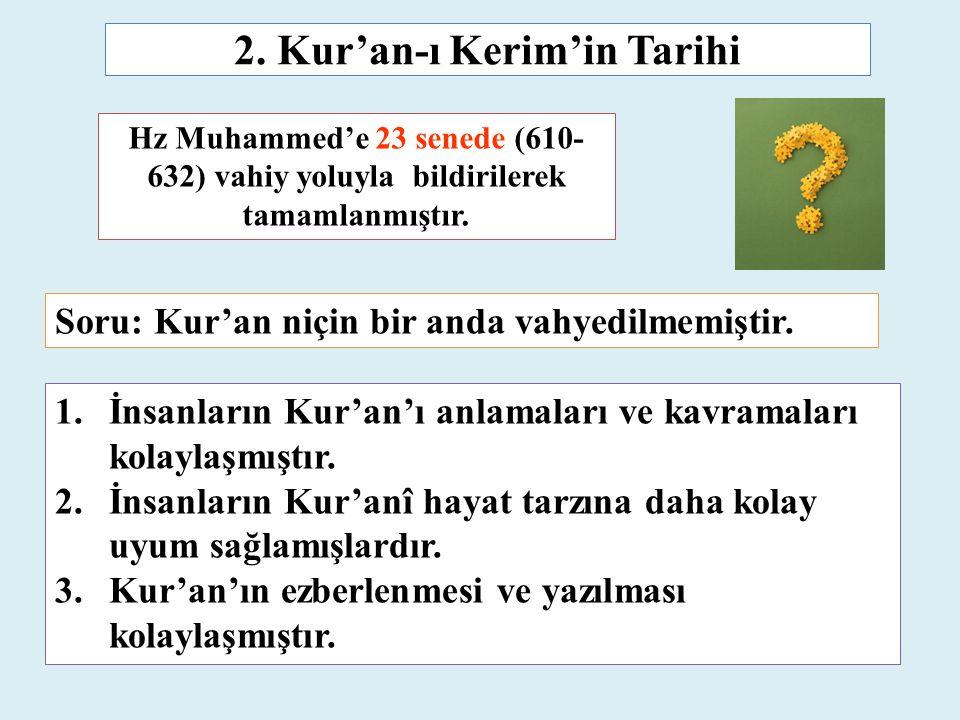 Hz Muhammed'e 23 senede (610- 632) vahiy yoluyla bildirilerek tamamlanmıştır. 2. Kur'an-ı Kerim'in Tarihi 1.İnsanların Kur'an'ı anlamaları ve kavramal