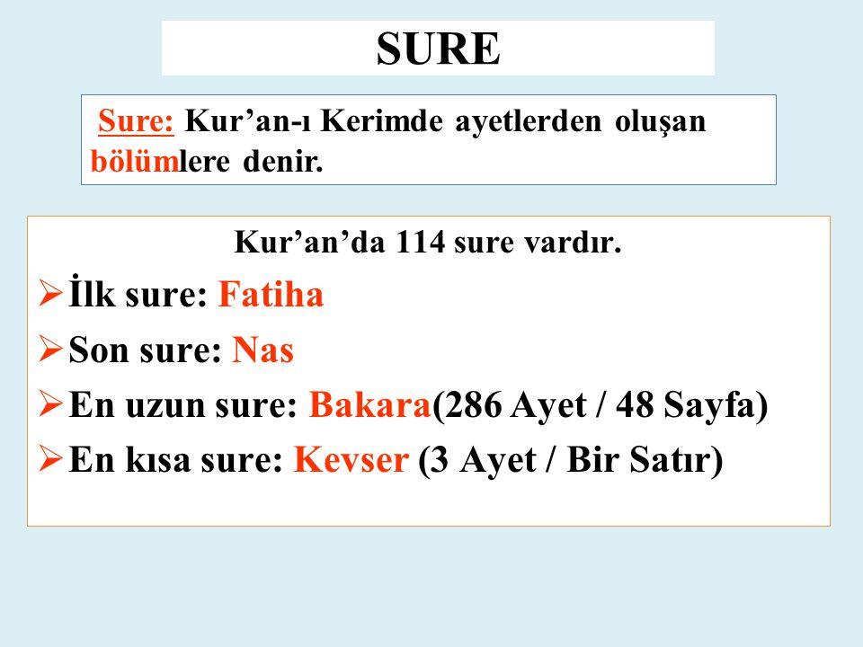 SURE Kur'an'da 114 sure vardır.  İlk sure: Fatiha  Son sure: Nas  En uzun sure: Bakara(286 Ayet / 48 Sayfa)  En kısa sure: Kevser (3 Ayet / Bir Sa