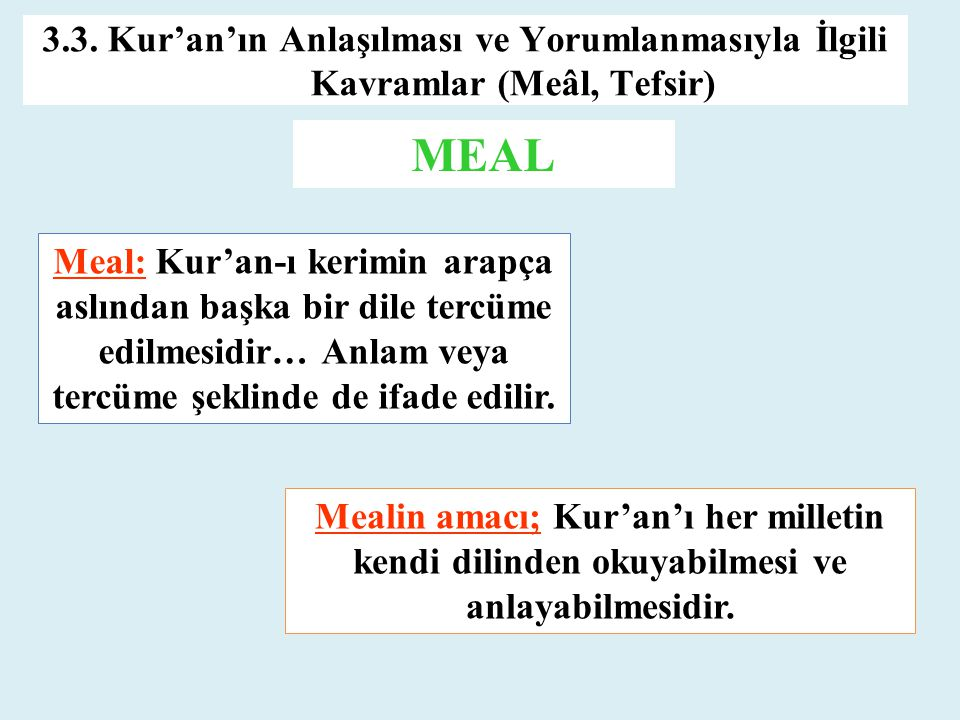 3.3. Kur'an'ın Anlaşılması ve Yorumlanmasıyla İlgili Kavramlar (Meâl, Tefsir) MEAL Meal: Kur'an-ı kerimin arapça aslından başka bir dile tercüme edilm