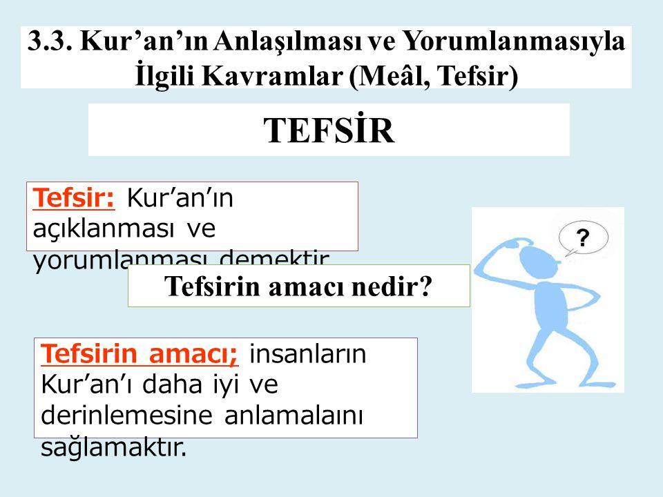 TEFSİR 3.3. Kur'an'ın Anlaşılması ve Yorumlanmasıyla İlgili Kavramlar (Meâl, Tefsir) Tefsir: Kur'an'ın açıklanması ve yorumlanması demektir. Tefsirin