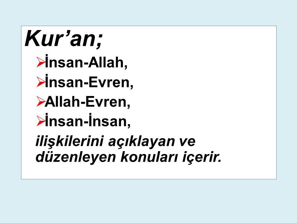 Kur'an;  İnsan-Allah,  İnsan-Evren,  Allah-Evren,  İnsan-İnsan, ilişkilerini açıklayan ve düzenleyen konuları içerir.