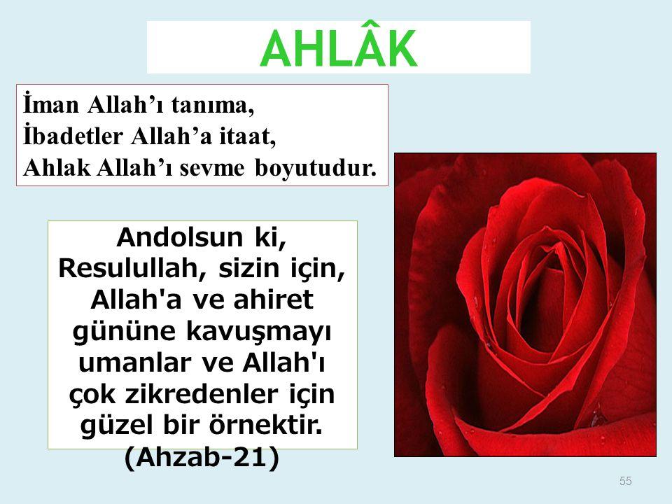 55 AHLÂK Andolsun ki, Resulullah, sizin için, Allah'a ve ahiret gününe kavuşmayı umanlar ve Allah'ı çok zikredenler için güzel bir örnektir. (Ahzab-21