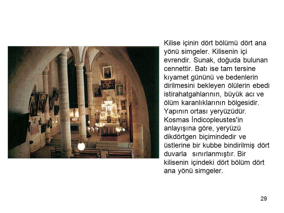 29 Kilise içinin dört bölümü dört ana yönü simgeler. Kilisenin içi evrendir. Sunak, doğuda bulunan cennettir. Batı ise tam tersine kıyamet gününü ve b