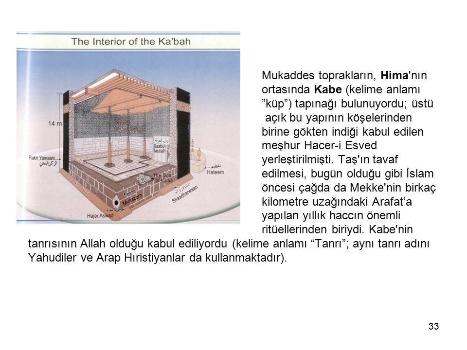 """33 Mukaddes toprakların, Hima'nın ortasında Kabe (kelime anlamı """"küp"""") tapınağı bulunuyordu; üstü açık bu yapının köşelerinden birine gökten indiği ka"""