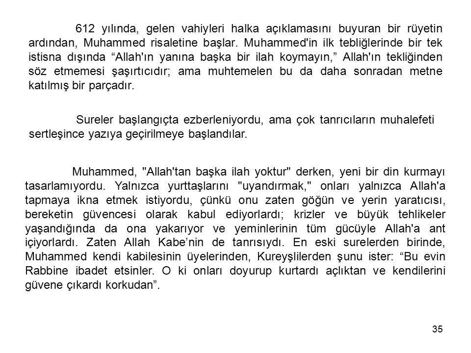 35 612 yılında, gelen vahiyleri halka açıklamasını buyuran bir rüyetin ardından, Muhammed risaletine başlar. Muhammed'in ilk tebliğlerinde bir tek ist