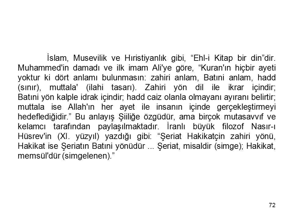 """72 İslam, Musevilik ve Hıristiyanlık gibi, """"Ehl-i Kitap bir din""""dir. Muhammed'in damadı ve ilk imam Ali'ye göre, """"Kuran'ın hiçbir ayeti yoktur ki dört"""