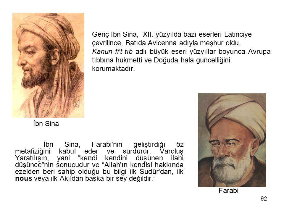 92 Genç İbn Sina, XII. yüzyılda bazı eserleri Latinciye çevrilince, Batıda Avicenna adıyla meşhur oldu. Kanun fi't-tıb adlı büyük eseri yüzyıllar boyu
