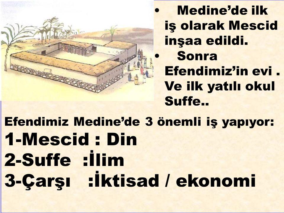 Medine'de ilk iş olarak Mescid inşaa edildi. Sonra Efendimiz'in evi. Ve ilk yatılı okul Suffe.. Efendimiz Medine'de 3 önemli iş yapıyor: 1-Mescid : Di