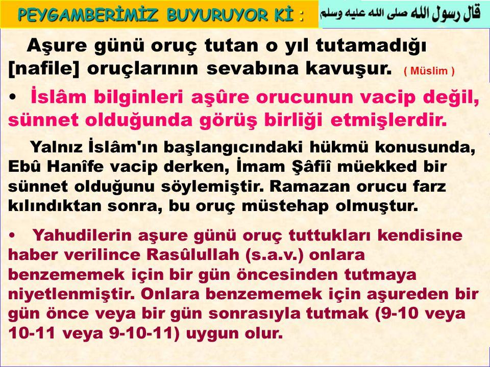 Yalnız İslâm'ın başlangıcındaki hükmü konusunda, Ebû Hanîfe vacip derken, İmam Şâfiî müekked bir sünnet olduğunu söylemiştir. Ramazan orucu farz kılın