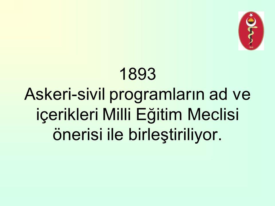 1893 Askeri-sivil programların ad ve içerikleri Milli Eğitim Meclisi önerisi ile birleştiriliyor.