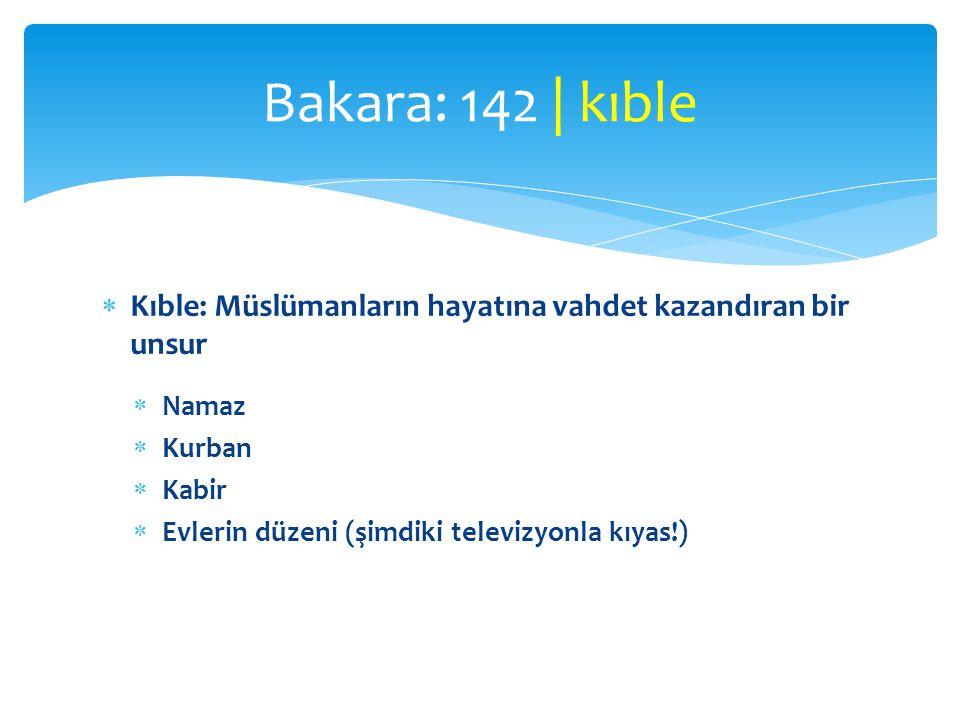  Kıble: Müslümanların hayatına vahdet kazandıran bir unsur  Namaz  Kurban  Kabir  Evlerin düzeni (şimdiki televizyonla kıyas!) Bakara: 142 | kıbl