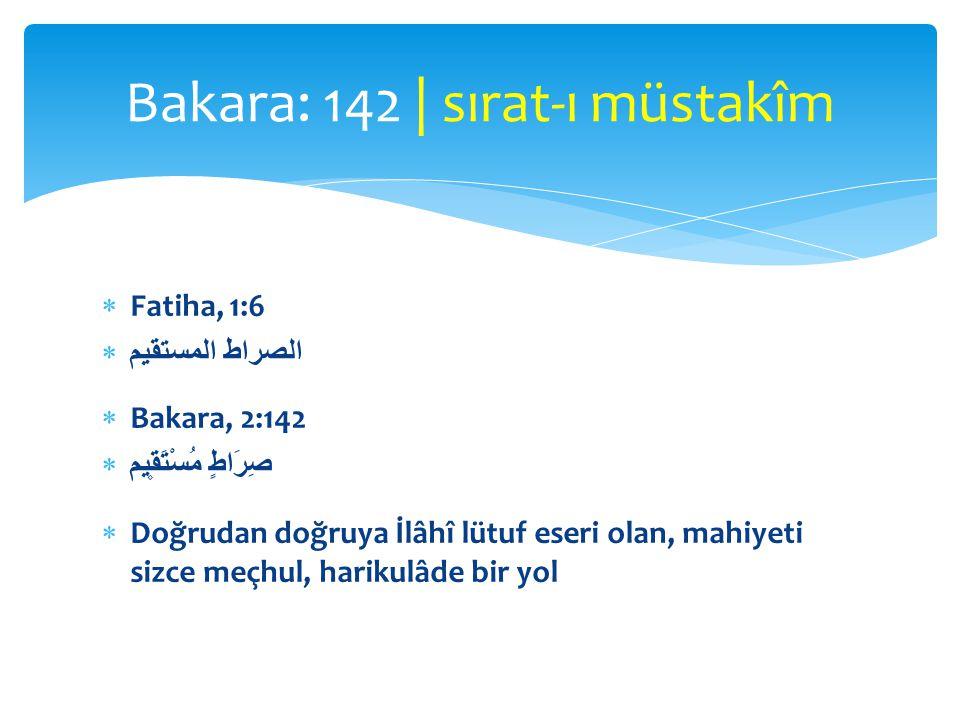  Fatiha, 1:6  الصراط المستقيم  Bakara, 2:142  صِرَاطٍ مُسْتَق۪يم  Doğrudan doğruya İlâhî lütuf eseri olan, mahiyeti sizce meçhul, harikulâde bir