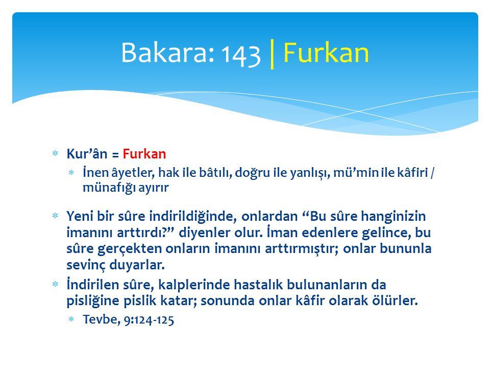 """ Kur'ân = Furkan  İnen âyetler, hak ile bâtılı, doğru ile yanlışı, mü'min ile kâfiri / münafığı ayırır  Yeni bir sûre indirildiğinde, onlardan """"Bu"""