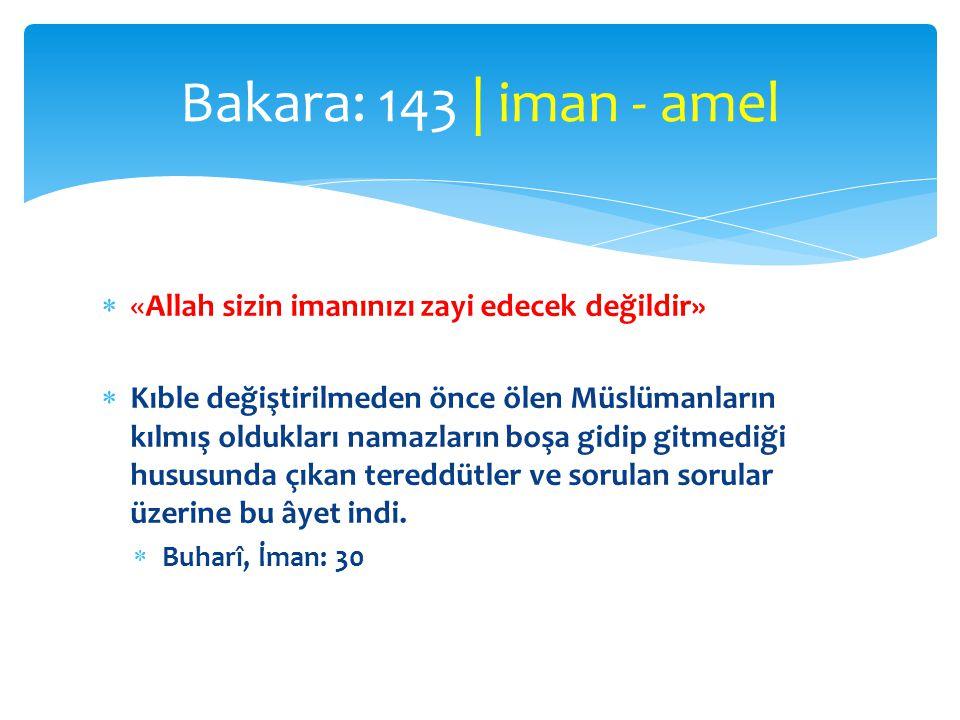 «Allah sizin imanınızı zayi edecek değildir»  Kıble değiştirilmeden önce ölen Müslümanların kılmış oldukları namazların boşa gidip gitmediği hususu