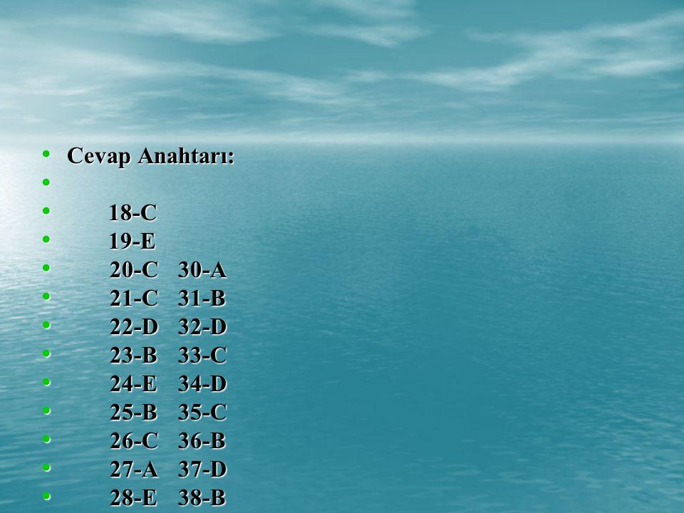 Cevap Anahtarı: Cevap Anahtarı: 18-C 18-C 19-E 19-E 20-C30-A 20-C30-A 21-C31-B 21-C31-B 22-D32-D 22-D32-D 23-B33-C 23-B33-C 24-E34-D 24-E34-D 25-B35-C 25-B35-C 26-C36-B 26-C36-B 27-A37-D 27-A37-D 28-E38-B 28-E38-B 29-B 29-B