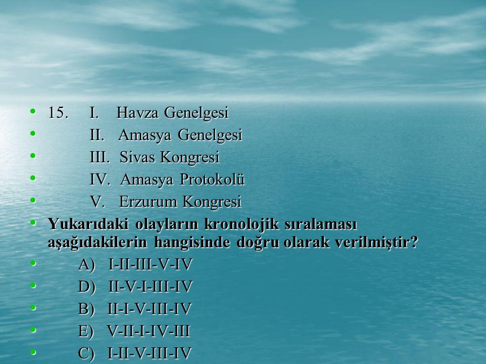 15.I. Havza Genelgesi 15. I. Havza Genelgesi II. Amasya Genelgesi II.