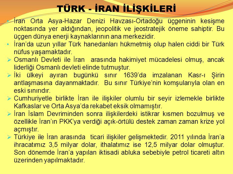 TÜRK - İRAN İLİŞKİLERİ İran Orta Asya-Hazar Denizi Havzası-Ortadoğu üçgeninin kesişme noktasında yer aldığından, jeopolitik ve jeostratejik öneme sahi