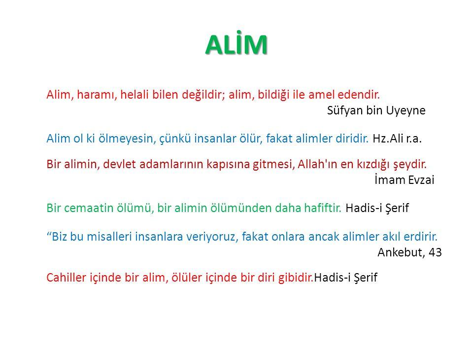 ALİM Alim, haramı, helali bilen değildir; alim, bildiği ile amel edendir. Süfyan bin Uyeyne Alim ol ki ölmeyesin, çünkü insanlar ölür, fakat alimler d