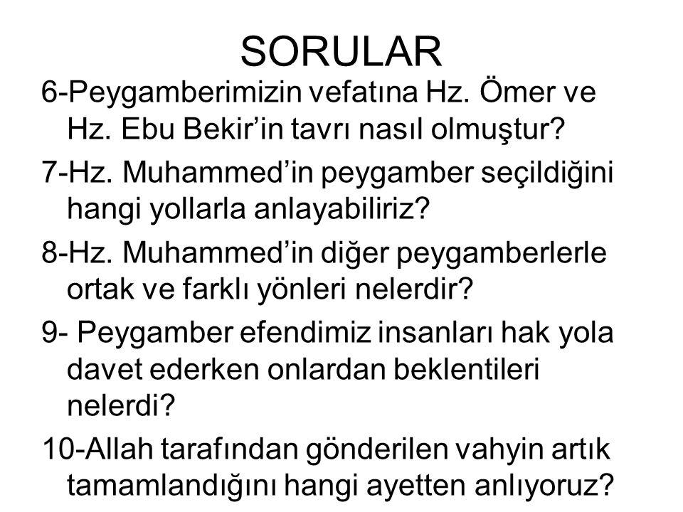 SORULAR 1-Hz. Muhammed nasıl bir insandı? 2-Hz. Muhammed'i diğer insanlardan farklı kılan özellikleri nelerdir? 3-Hz. Muhammed ruhbanca yaşamayı niçin