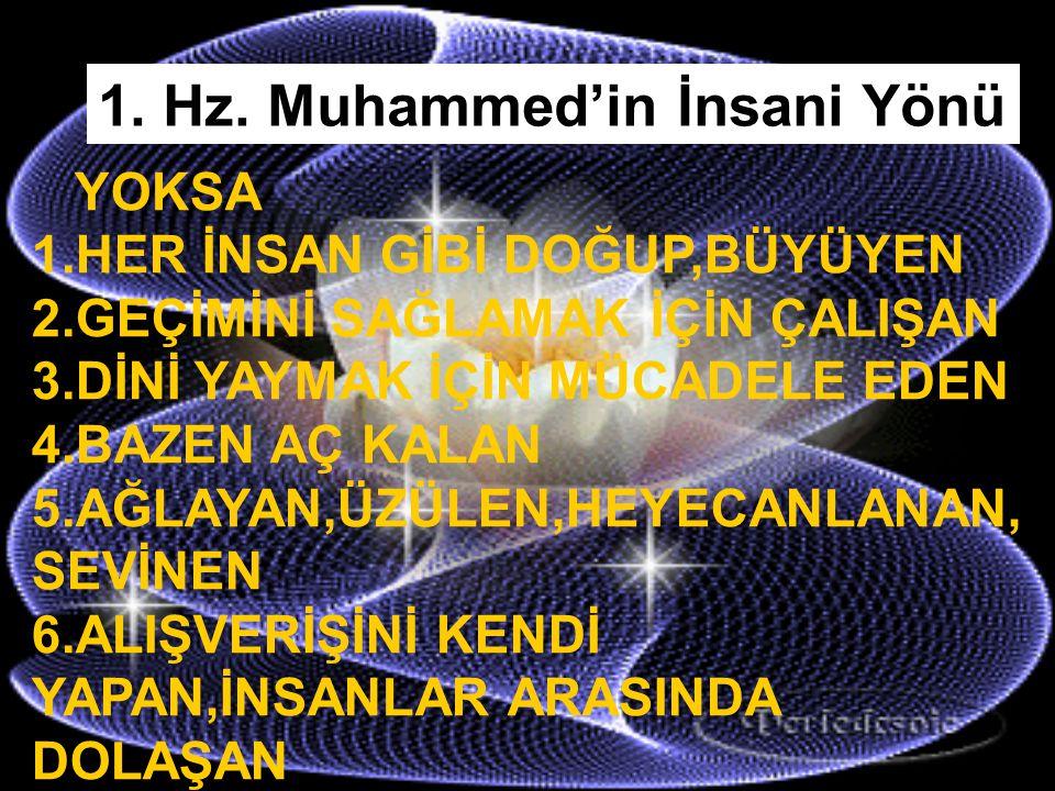 1. Hz. Muhammed'in İnsani Yönü 5.PARMAKLARINDAN SU AKAN 6.BİR KAP YEMEKLE BİNLERCE KİŞİYİ DOYURAN 7.GELECEKTE OLAN OLAYLARI BİLEN 8.ALEMLERİN KENDİSİ