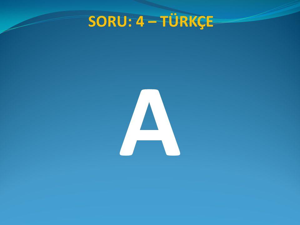SORU: 4 – TÜRKÇE A