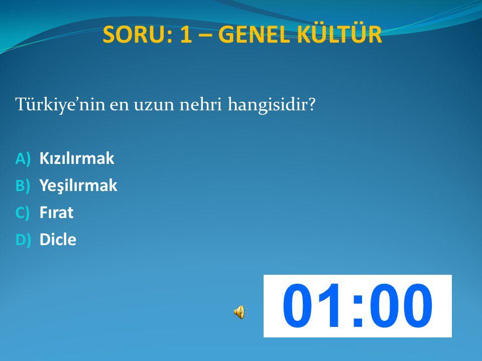 SORU: 1 – GENEL KÜLTÜR Türkiye'nin en uzun nehri hangisidir? A) Kızılırmak B) Yeşilırmak C) Fırat D) Dicle