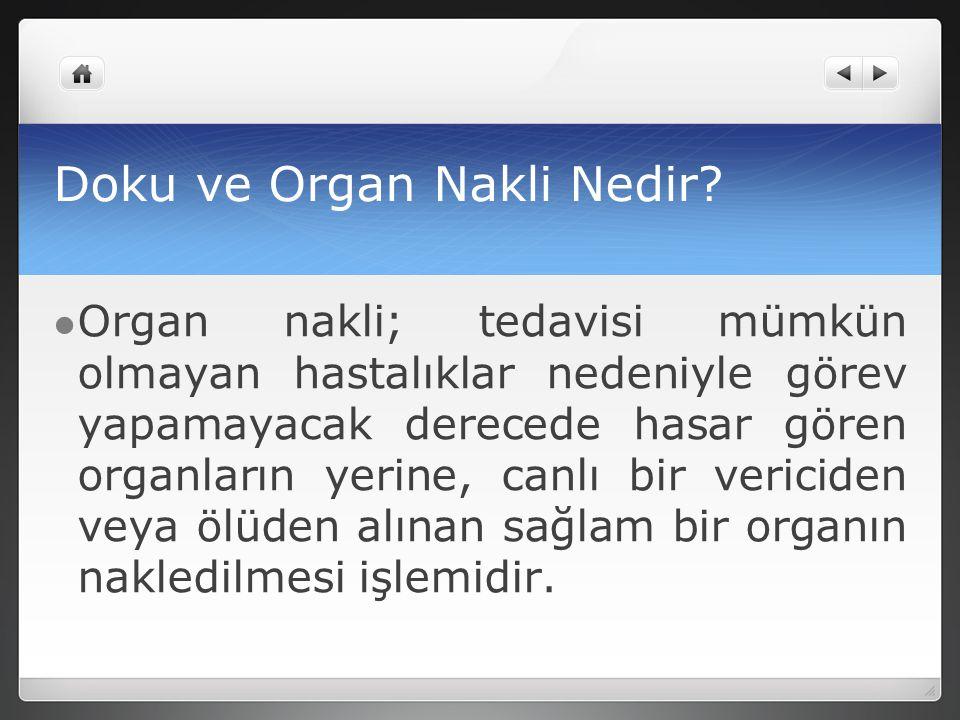 Doku ve Organ Nakli Nedir? Organ nakli; tedavisi mümkün olmayan hastalıklar nedeniyle görev yapamayacak derecede hasar gören organların yerine, canlı