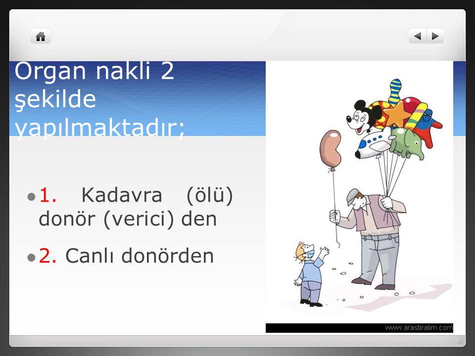 Organ nakli 2 şekilde yapılmaktadır; 1. Kadavra (ölü) donör (verici) den 2. Canlı donörden