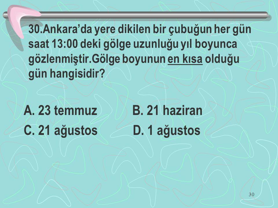 30 30.Ankara'da yere dikilen bir çubuğun her gün saat 13:00 deki gölge uzunluğu yıl boyunca gözlenmiştir.Gölge boyunun en kısa olduğu gün hangisidir?