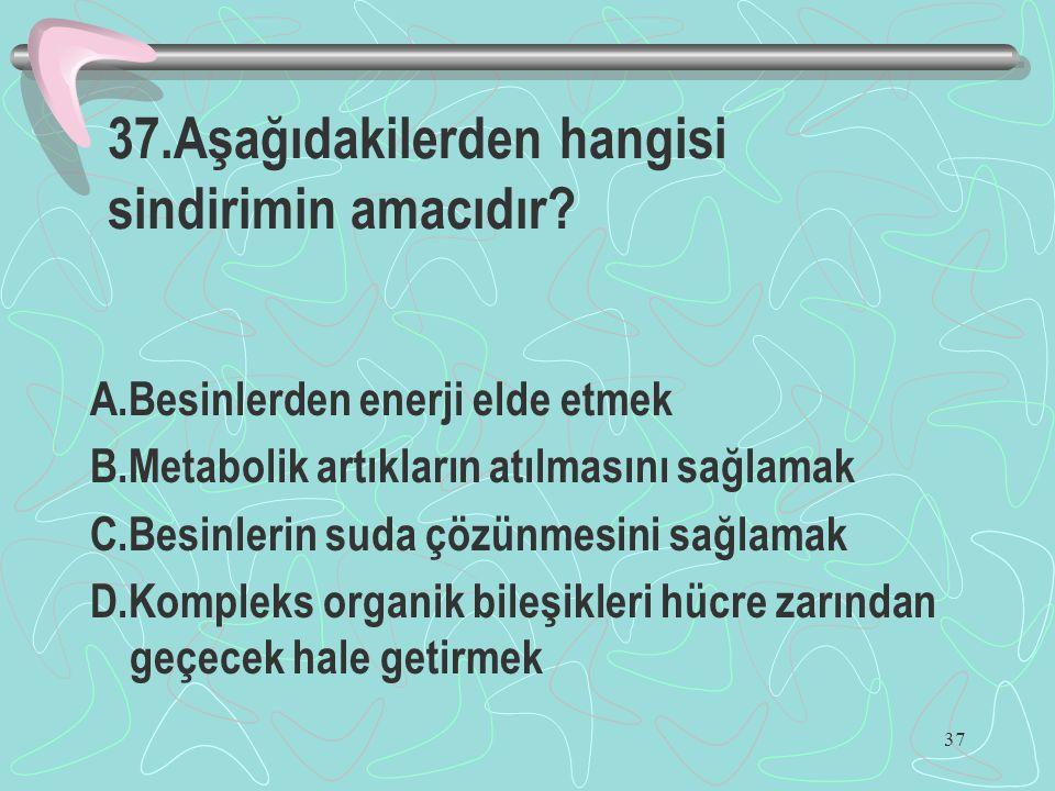 37 37.Aşağıdakilerden hangisi sindirimin amacıdır? A.Besinlerden enerji elde etmek B.Metabolik artıkların atılmasını sağlamak C.Besinlerin suda çözünm