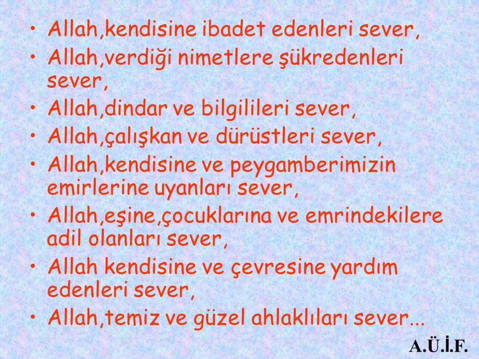 Allah,kendisine ibadet edenleri sever, Allah,verdiği nimetlere şükredenleri sever, Allah,dindar ve bilgilileri sever, Allah,çalışkan ve dürüstleri sev