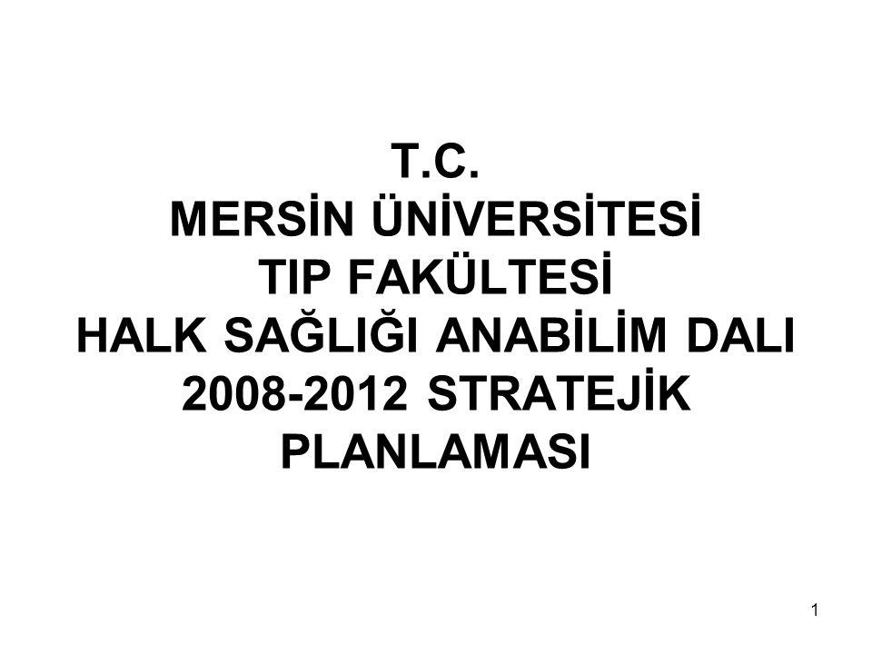 1 T.C. MERSİN ÜNİVERSİTESİ TIP FAKÜLTESİ HALK SAĞLIĞI ANABİLİM DALI 2008-2012 STRATEJİK PLANLAMASI