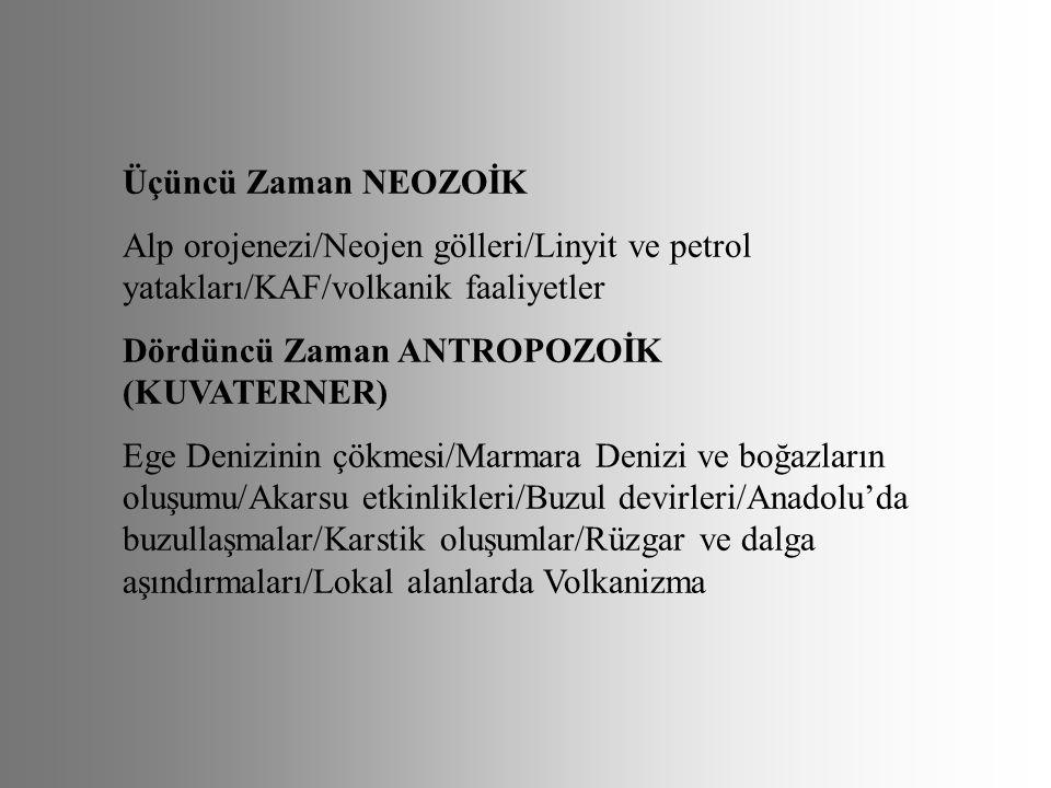 Üçüncü Zaman NEOZOİK Alp orojenezi/Neojen gölleri/Linyit ve petrol yatakları/KAF/volkanik faaliyetler Dördüncü Zaman ANTROPOZOİK (KUVATERNER) Ege Deni
