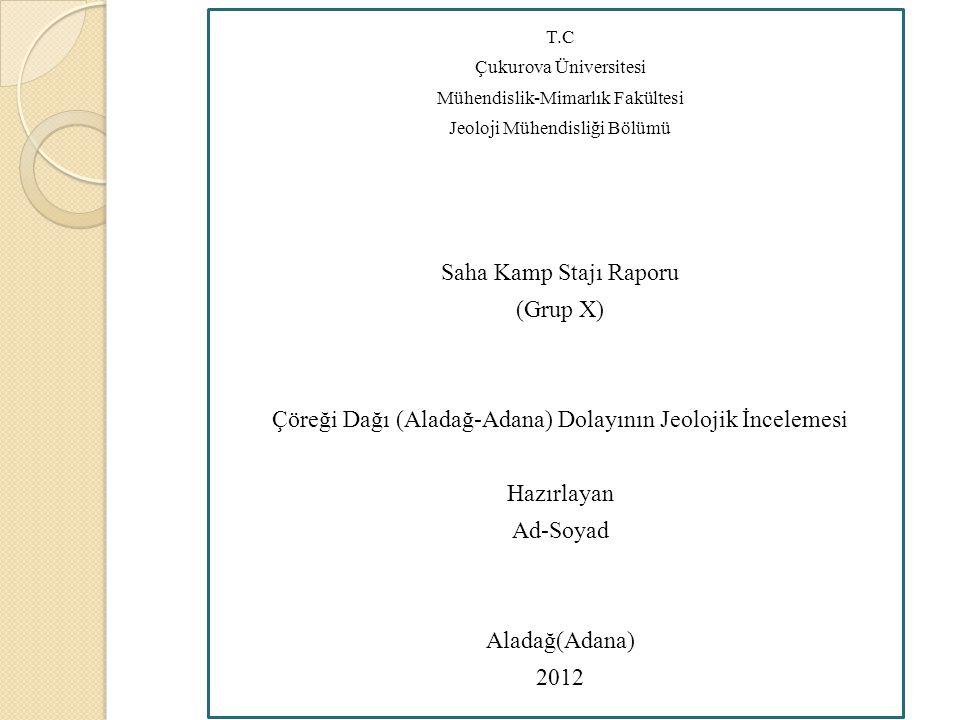 T.C Çukurova Üniversitesi Mühendislik-Mimarlık Fakültesi Jeoloji Mühendisliği Bölümü Saha Kamp Stajı Raporu (Grup X) Çöreği Dağı (Aladağ-Adana) Dolayı