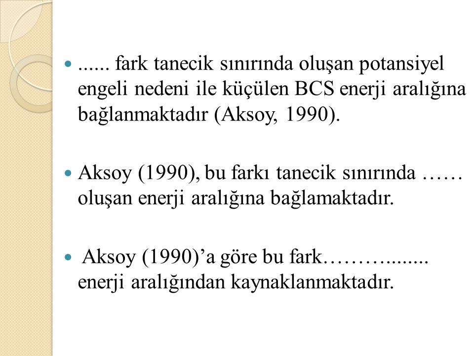 ...... fark tanecik sınırında oluşan potansiyel engeli nedeni ile küçülen BCS enerji aralığına bağlanmaktadır (Aksoy, 1990). Aksoy (1990), bu farkı ta
