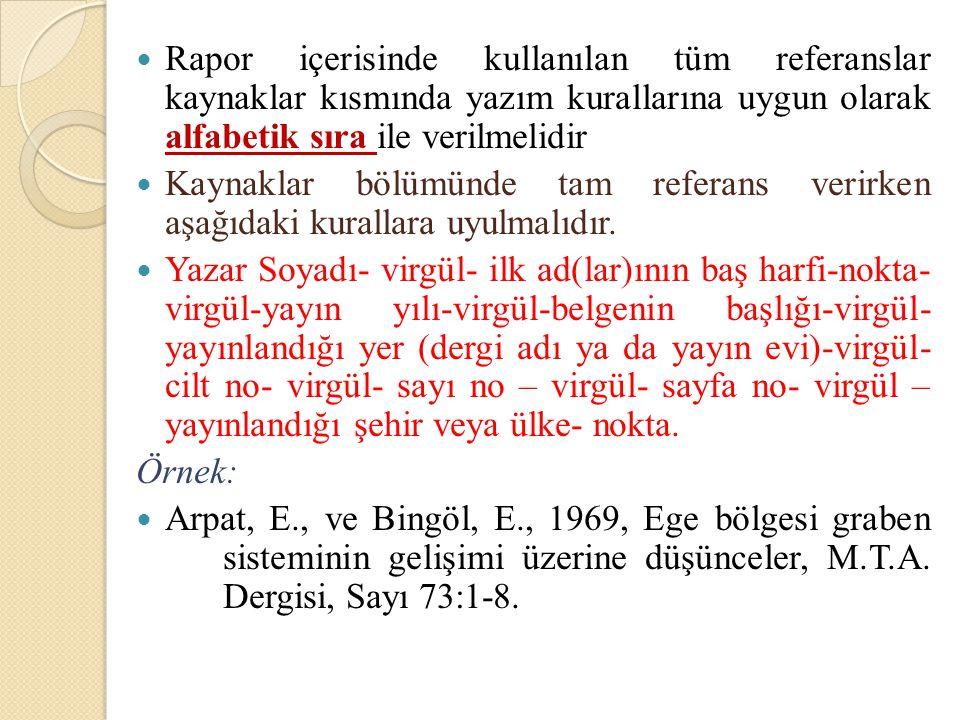 Rapor içerisinde kullanılan tüm referanslar kaynaklar kısmında yazım kurallarına uygun olarak alfabetik sıra ile verilmelidir Kaynaklar bölümünde tam
