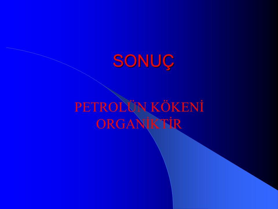 ORGANİK KÖKEN TEORİSİNİ DESTEKLEYEN VERİLER Organik kökenli bir madde olan porfirin petrol içerisinde yaygın olarak bulunmaktadır. Petrolün flüoresans