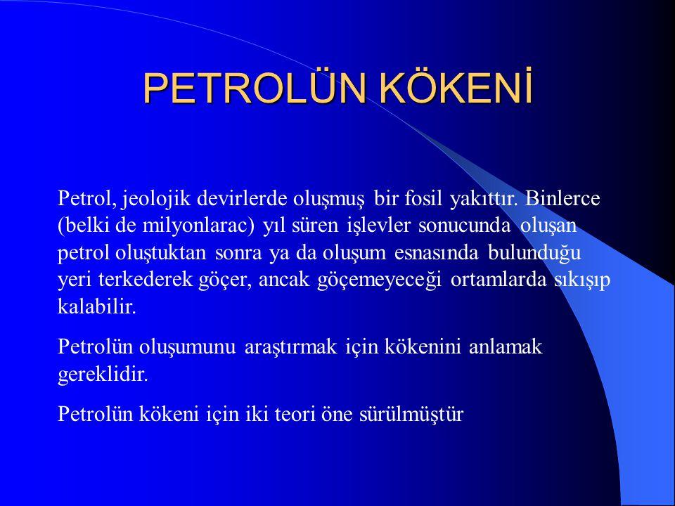 PETROLÜN KÖKENİ Petrol, jeolojik devirlerde oluşmuş bir fosil yakıttır.
