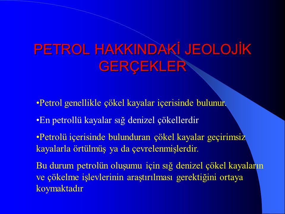 PETROL HAKKINDAKİ JEOLOJİK GERÇEKLER Petrol genellikle çökel kayalar içerisinde bulunur.