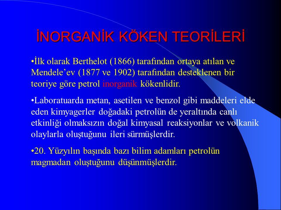 İNORGANİK KÖKEN TEORİLERİ İlk olarak Berthelot (1866) tarafından ortaya atılan ve Mendele'ev (1877 ve 1902) tarafından desteklenen bir teoriye göre petrol inorganik kökenlidir.