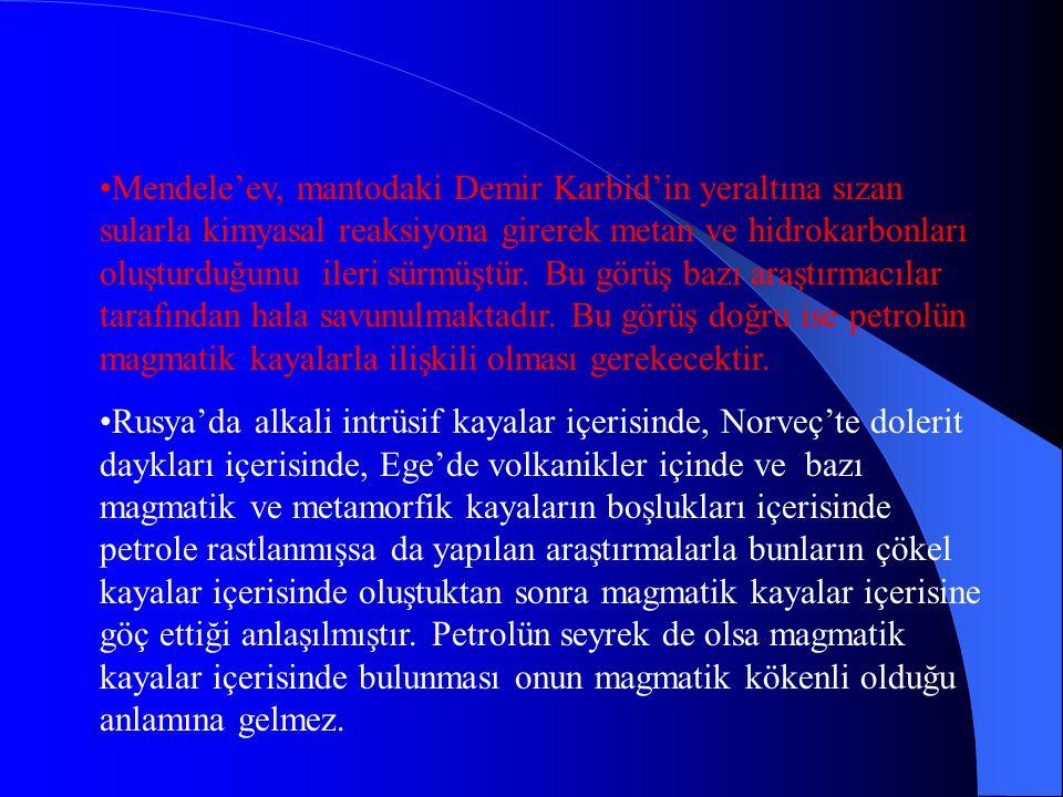 İNORGANİK KÖKEN TEORİLERİ İlk olarak Berthelot (1866) tarafından ortaya atılan ve Mendele'ev (1877 ve 1902) tarafından desteklenen bir teoriye göre pe