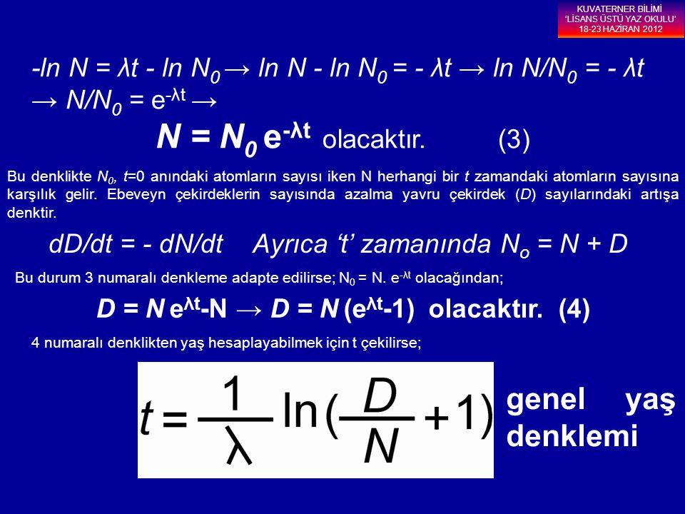 -ln N = λt - ln N 0 → ln N - ln N 0 = - λt → ln N/N 0 = - λt → N/N 0 = e -λt → N = N 0 e -λt olacaktır. (3) Bu denklikte N 0, t=0 anındaki atomların s