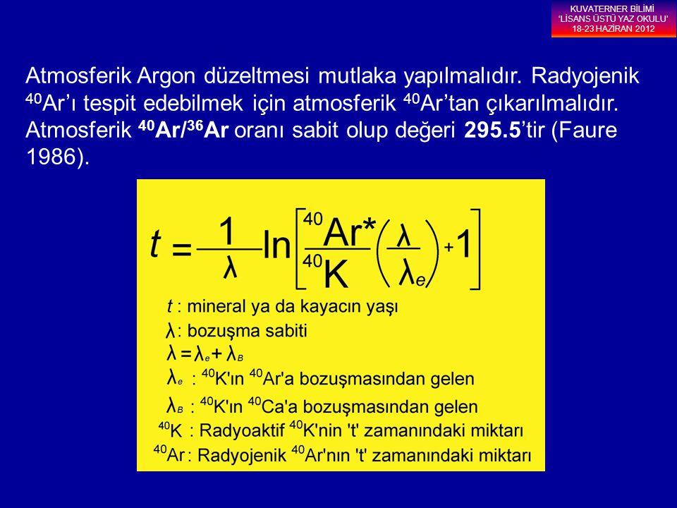 Atmosferik Argon düzeltmesi mutlaka yapılmalıdır. Radyojenik 40 Ar'ı tespit edebilmek için atmosferik 40 Ar'tan çıkarılmalıdır. Atmosferik 40 Ar/ 36 A