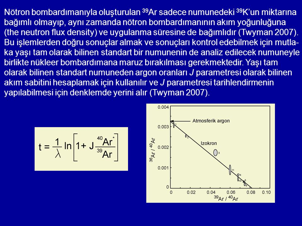 Nötron bombardımanıyla oluşturulan 39 Ar sadece numunedeki 39 K'un miktarına bağımlı olmayıp, aynı zamanda nötron bombardımanının akım yoğunluğuna (th